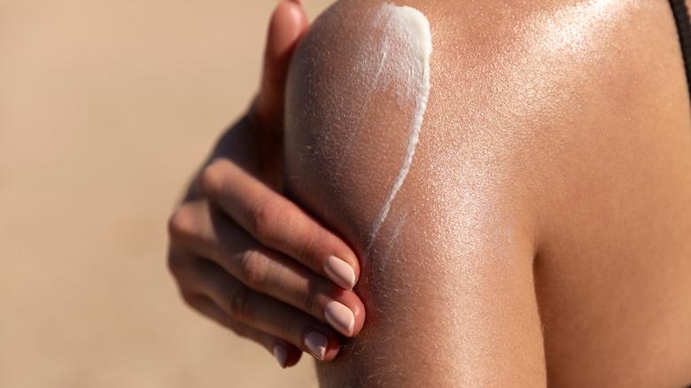 Sunscreen on shoulder