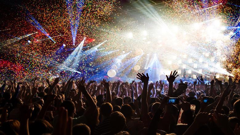 Fans enjoy a concert at a music festival