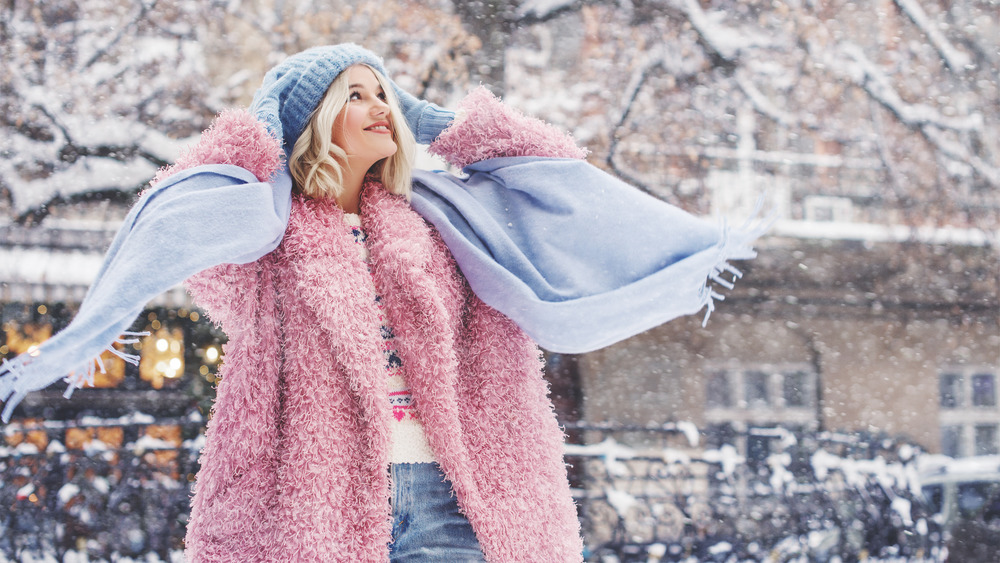 Woman bundled up in winter clothes