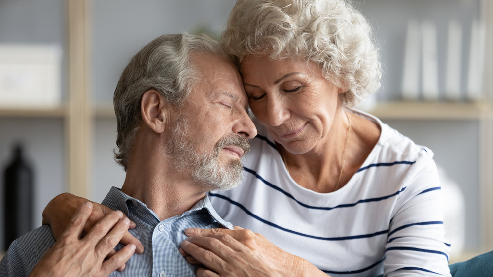 Mature couple in loving embrace