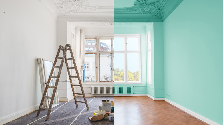 Before and after room renovation.