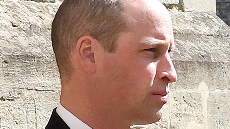 Prince William in profile during Philip funeral