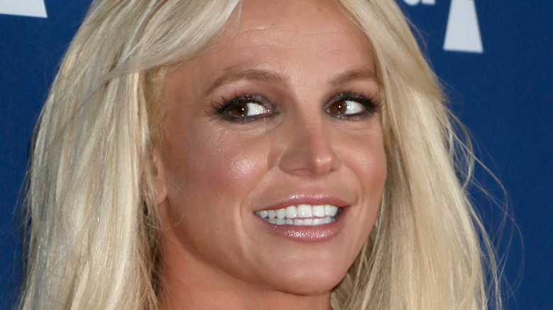 Britney Spears with her hair down smiling