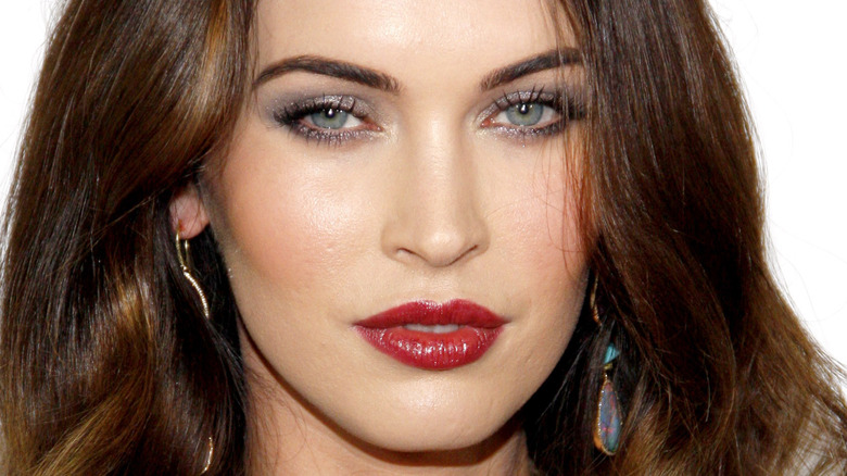 Megan Fox wearing red lipstick