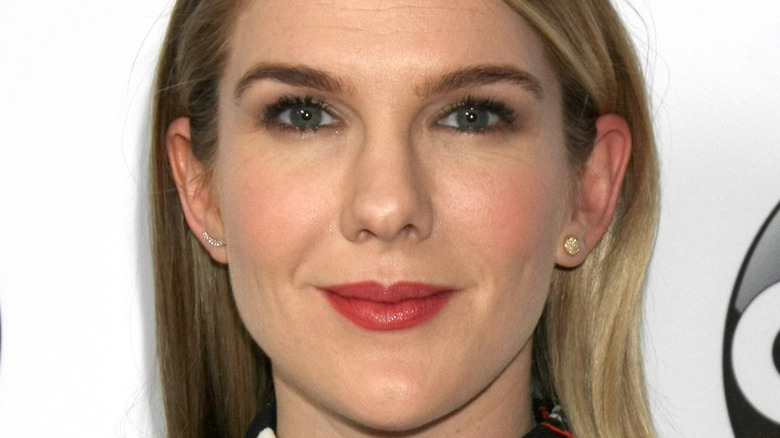 Lily Rabe poses on the red carpet.