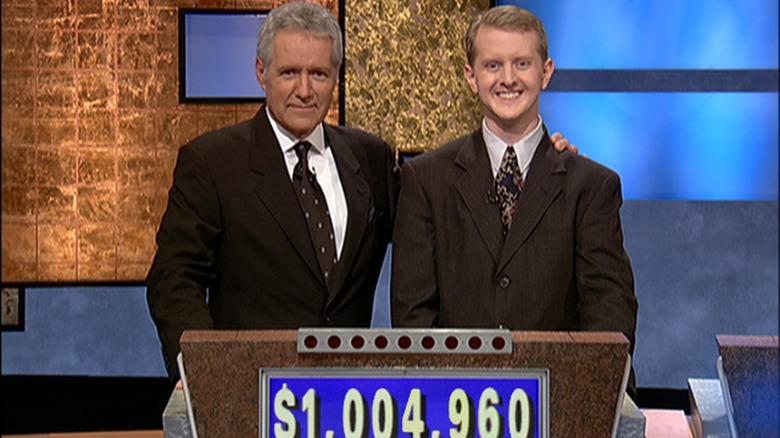 Alex Trebek congratulating Ken Jennings