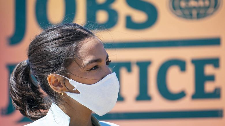 Alexandria Ocasio Cortez wearing mask