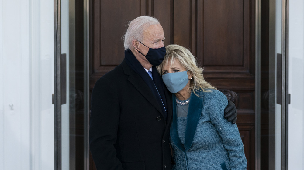 Joe and Jill Biden standing together on Inauguration Day