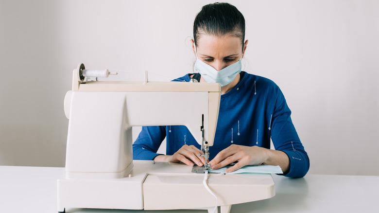 Woman making DIY face mask