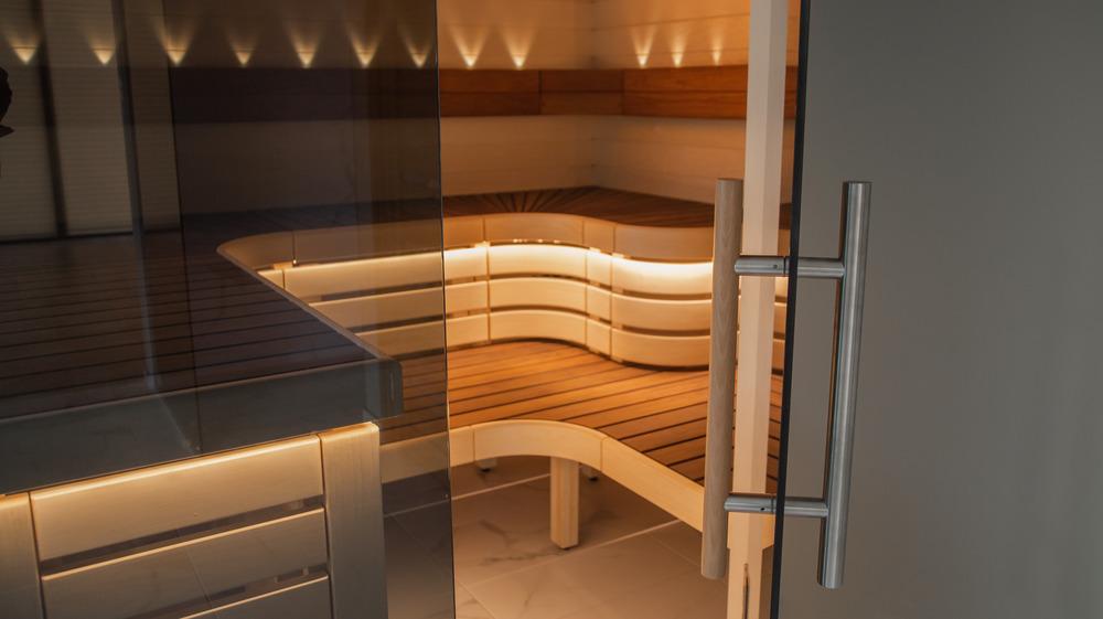 Infrared sauna with door open