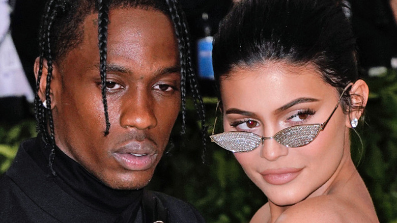 Travis Scott and Kylie Jenner at event