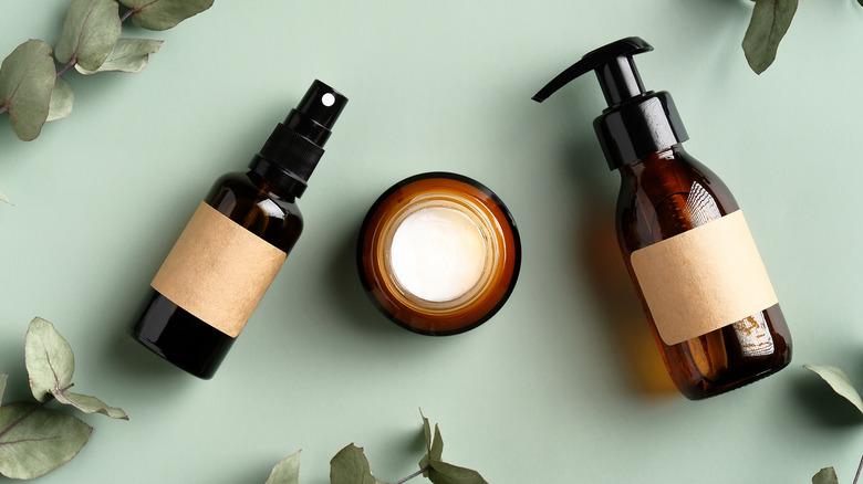 Amber glass bottles for cosmetics