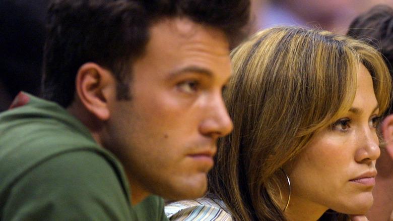 Jennifer Lopez and Ben Affleck at a basketball game.
