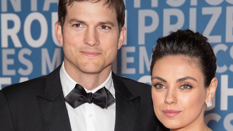 Mila Kunis and Ashton Kutcher close-up