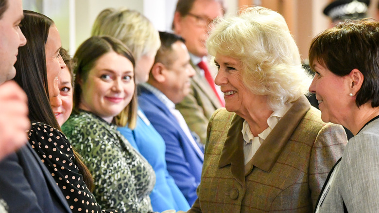 Camilla Parker Bowles speaking to royal fans