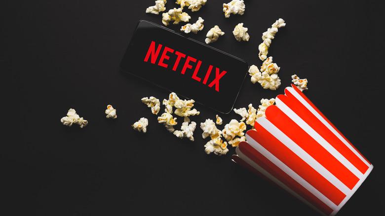 Netflix logo and popcorn