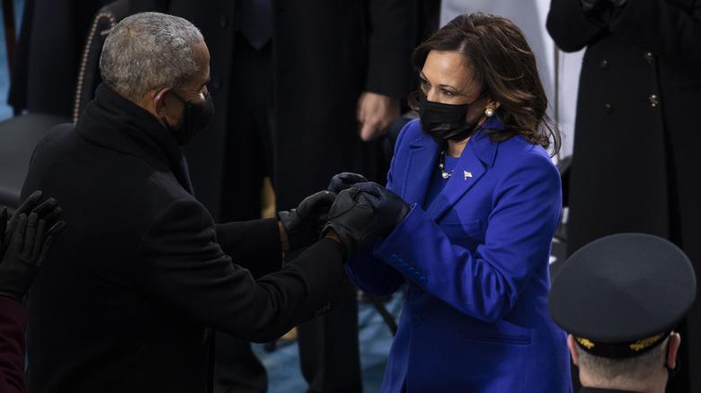 Barack Obama and Kamala Harris at inauguration
