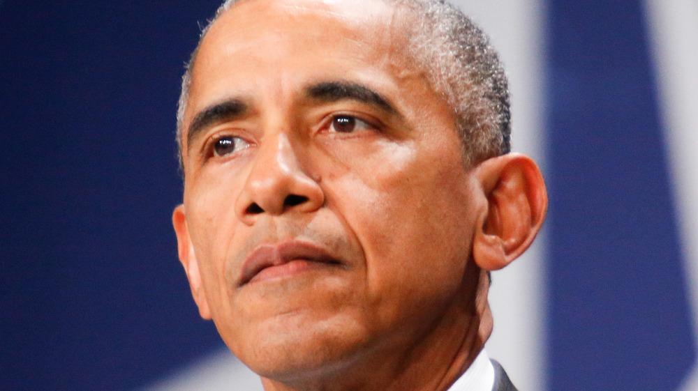Barack Obama staring into audience