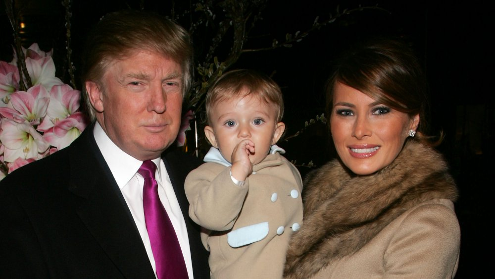 Barron Trump as a little child with his parents, Donald and Melania Trump