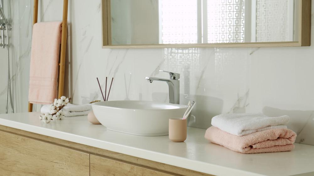 Bathroom basin and counter