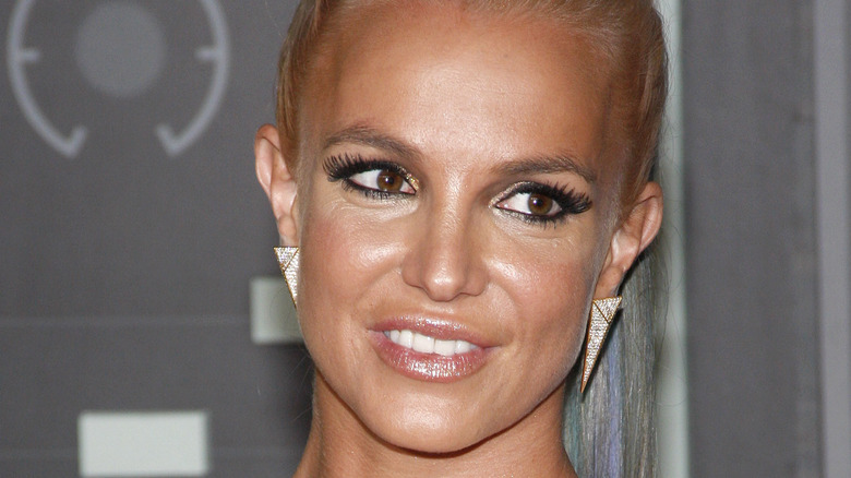 Britney Spears in 2015 with her hair pulled back