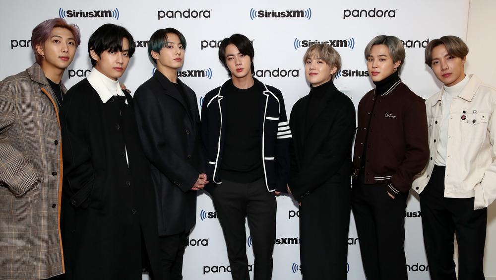 BTS posing at a Pandora SiriusXM event