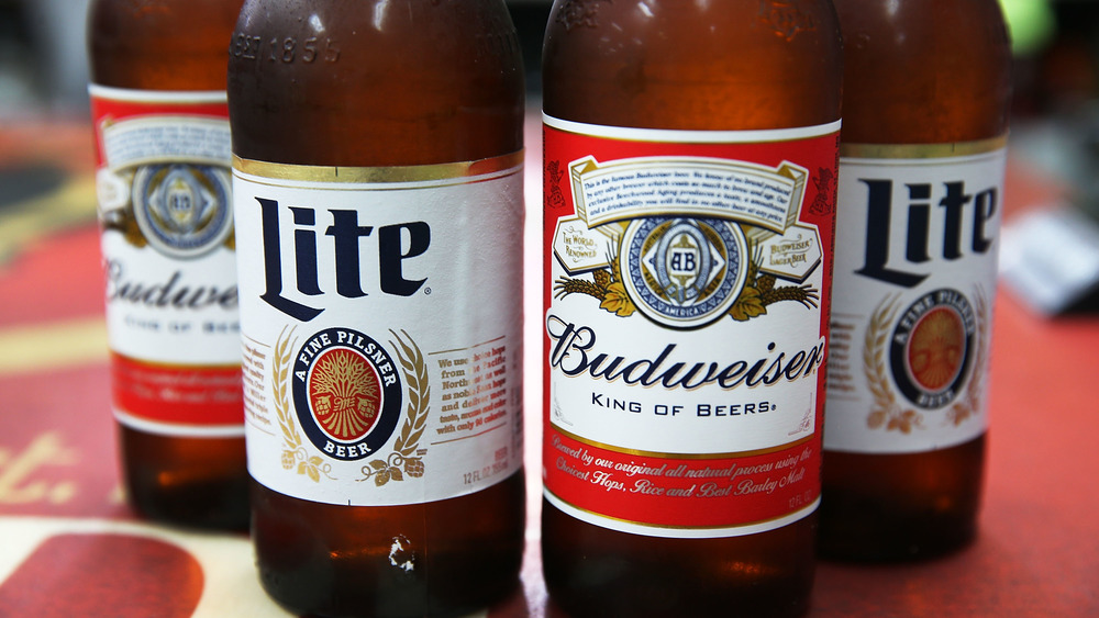 Bottles of Bud Lite and Budweiser
