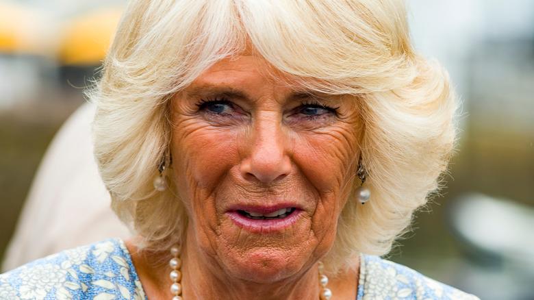 Camilla Bowles wears pearls