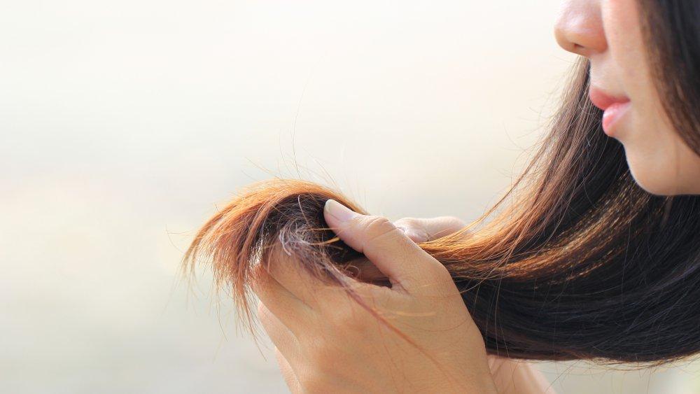 Woman with long hair handling split ends