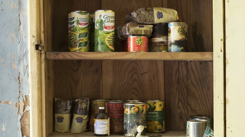 Canned foods in pantry