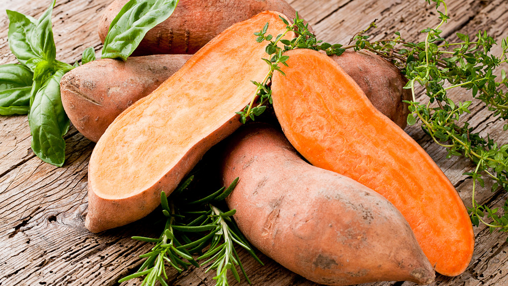 Sweet potato cut in half