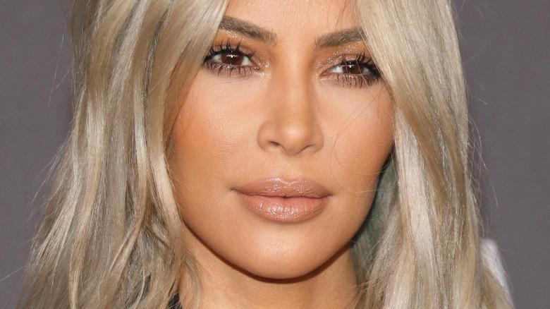 Close-up of blond Kim Kardashian
