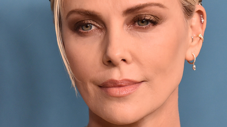 Charlize Theron with her hair back