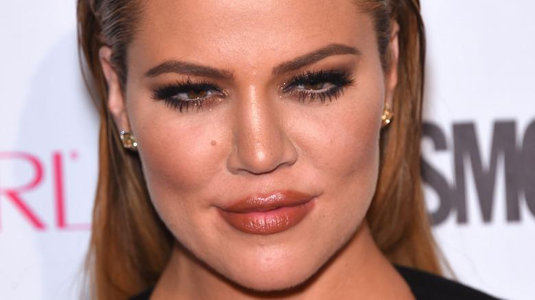 Khloé Kardashian with peach lipstick