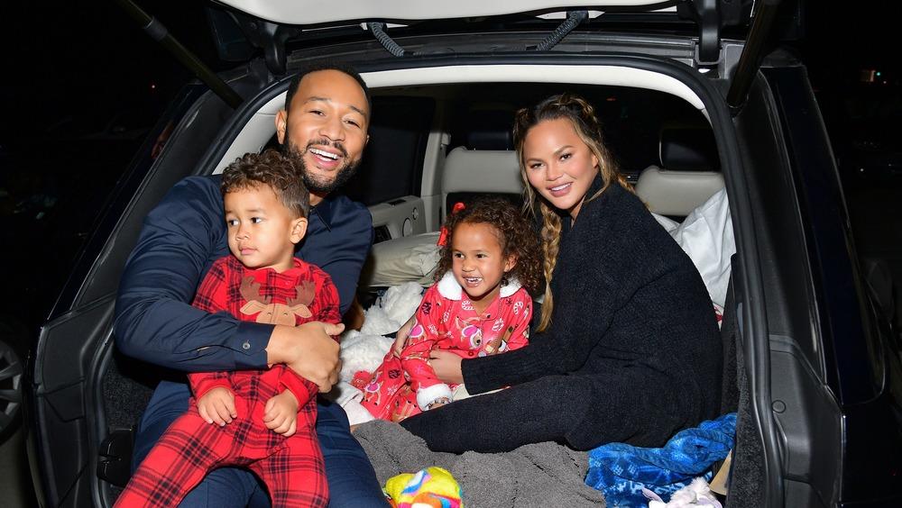 Chrissy Teigen family in car