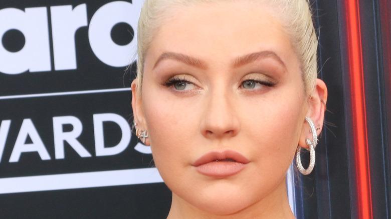 close up of Christina Aguilera not wearing a lot of makeup