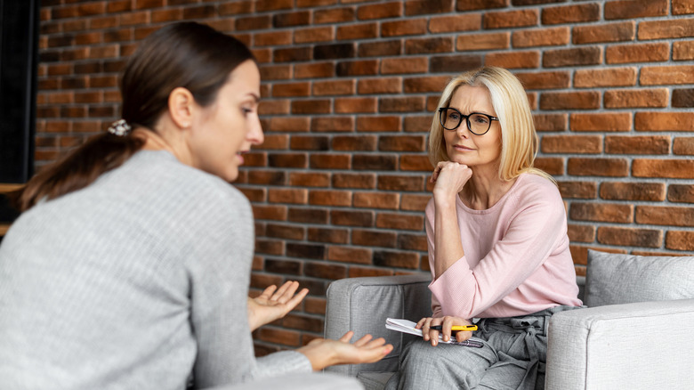 Young woman in a therapist's office