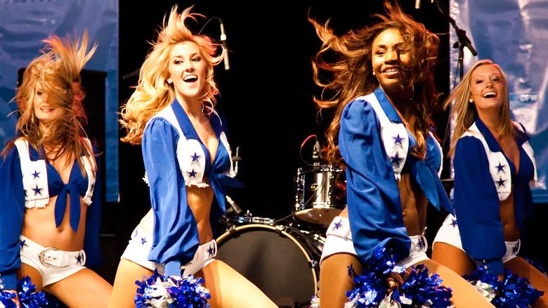 The Dallas Cowboys cheerleaders performing