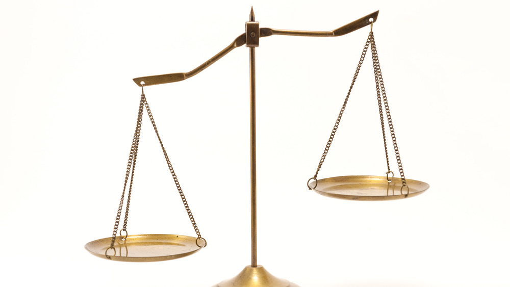 Libra scales against white background