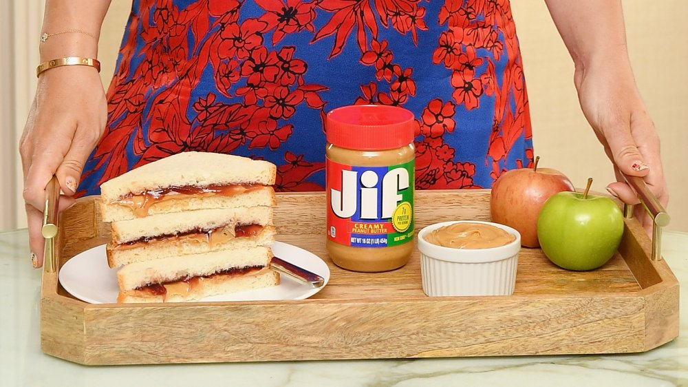 Jif Peanut Butter on tray with sandwich