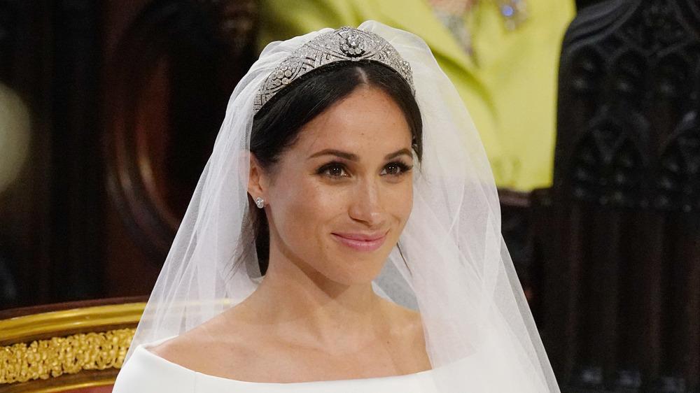 Megan Markle on wedding day wearing tiara and veil