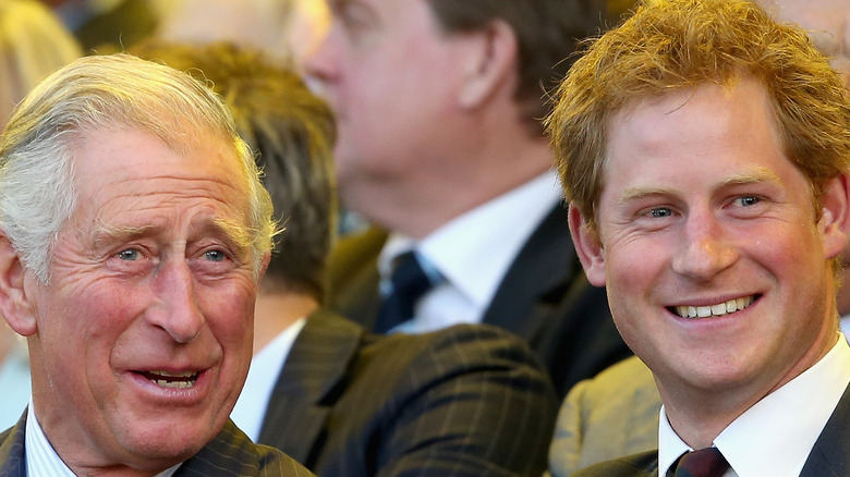 Prince Charles and Prince Harry share a laugh
