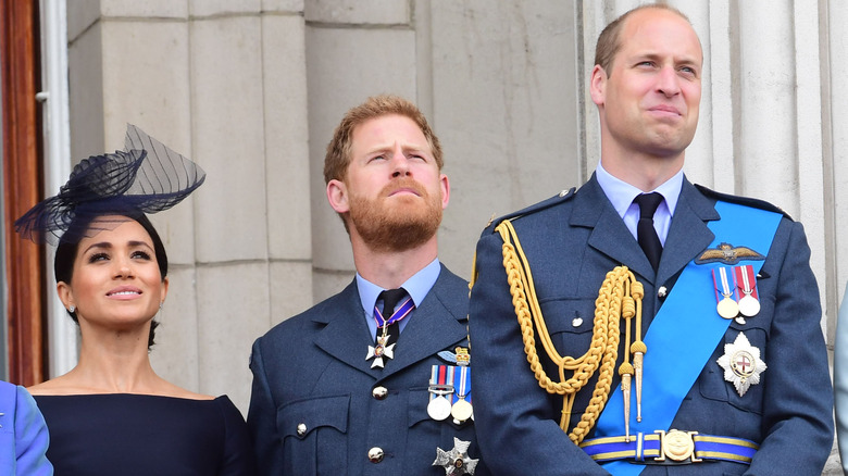 Prince Harry, Prince William and Meghan Markle at Buckingham Palace