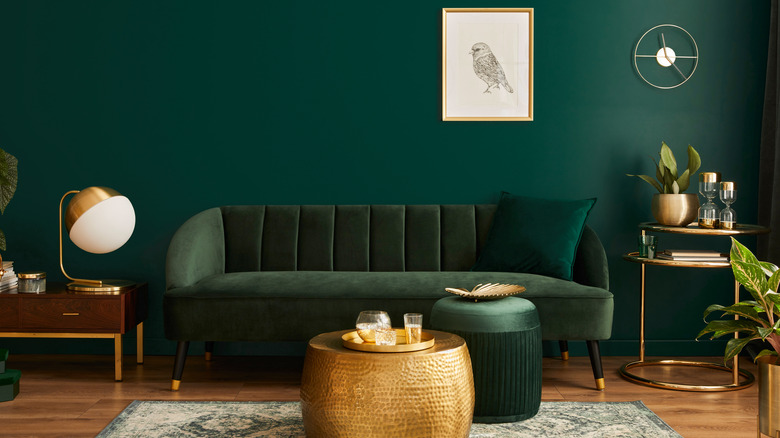 Living room with dark-green wall