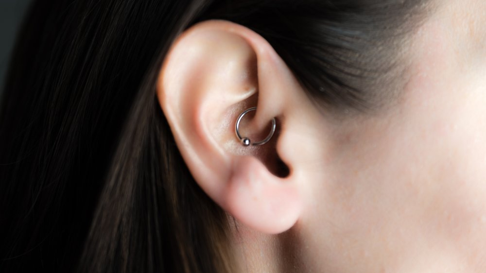 woman with a daith piercing