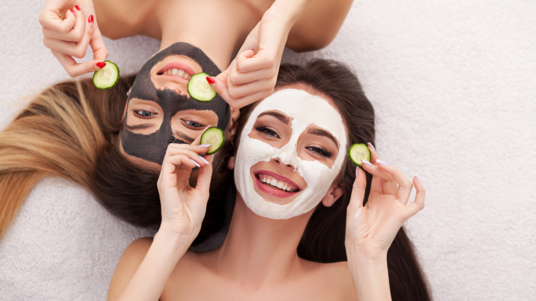 Two women with beauty masks