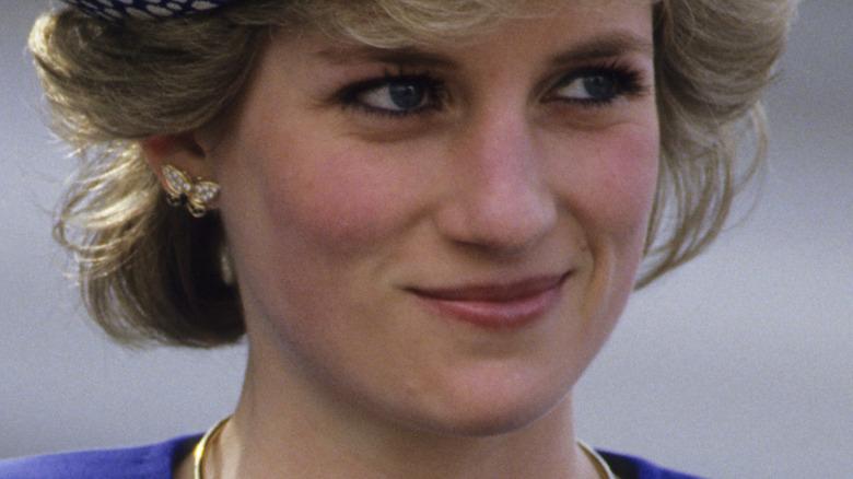 Princess Diana smiling in blule