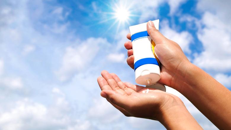 Bottle of sunscreen