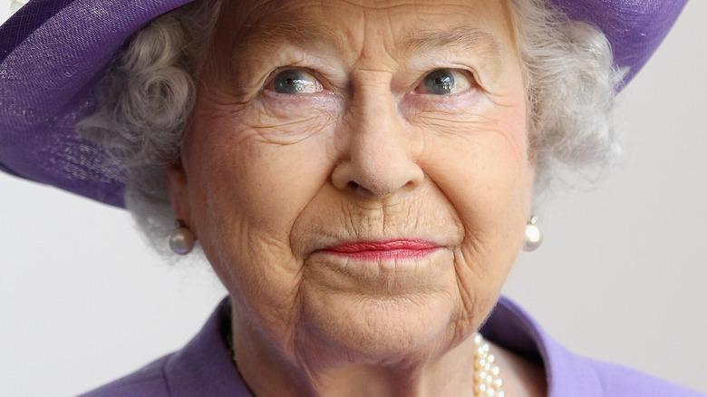 Queen Elizabeth II in purple