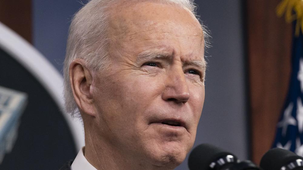 Joe Biden speaking at podium